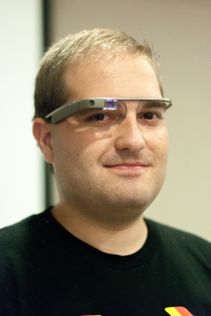 Paco wearing Google Glass